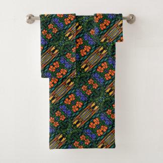 カラフルは熱帯パターンを抽出します バスタオルセット