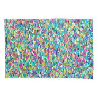 カラフルは青および紫色の格子を抽出します 枕カバー
