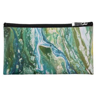 カラフルは青緑のターコイズの滝を抽出します コスメティックバッグ