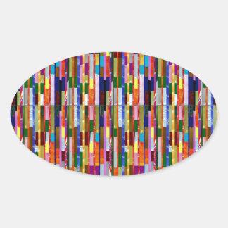 カラフルはDIYのテンプレートを加えます文字の写真の引用文を縞で飾ります 楕円形シール