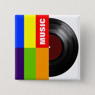 カラフルストライプな音楽ビニール 5.1CM 正方形バッジ