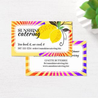カラフル光線レモンシェフのケイタリングビジネスカード 名刺