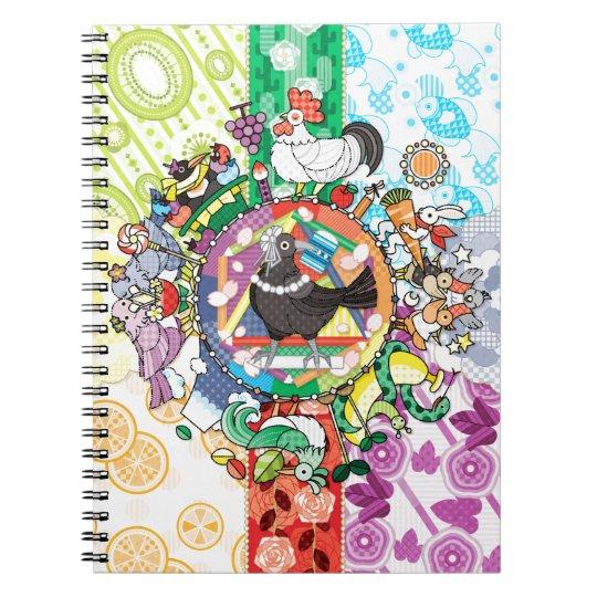 カラフル色相環グラデーションと白黒カラス ノートブック