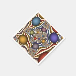 、カラフル飛んで、モダンは、フラクタルの芸術を抽出します スタンダードカクテルナプキン