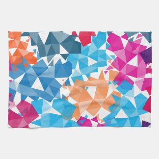 カラフル3Dの幾何学的な形 キッチンタオル