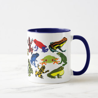カラフル、おもしろいの毒投げ矢のカエル、アマガエルのマグ マグカップ