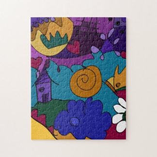 カラフル、おもしろい、ファンキーな落書きの芸術のパズル ジグソーパズル