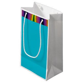 カラフル、多目的な虹のトリムのギフトバッグ スモールペーパーバッグ