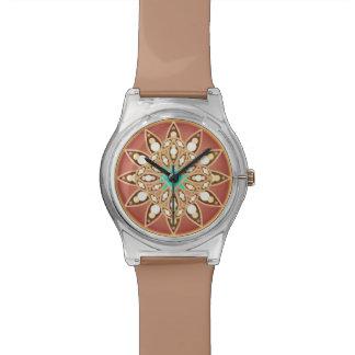 カラメルおよびチョコレートの曼荼羅パターン 腕時計