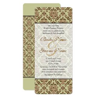 カラメルのカフェのダマスク織の金ライムの結婚式招待状 カード