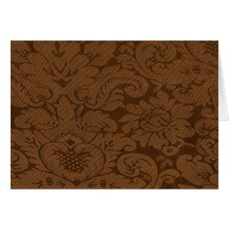 カラメルのブラウンのダマスク織の織り方の一見 カード