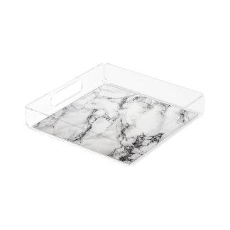 カラーラの白い大理石の皿 アクリルトレー