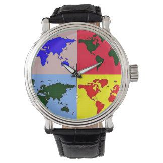 カラー・グラフィックの世界時間 腕時計