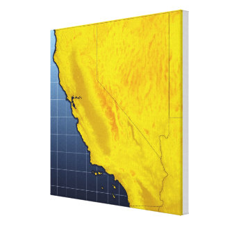 カリフォルニアおよびネバダの地図 キャンバスプリント