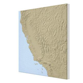 カリフォルニアおよびネバダの立体模型地図 キャンバスプリント