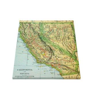 カリフォルニアおよびネバダ(1905年)のヴィンテージの地図 キャンバスプリント