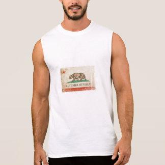 カリフォルニアからの旗が付いている袖なしのティー 袖なしシャツ