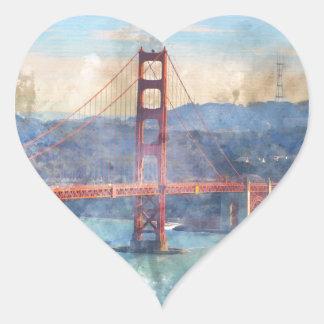 カリフォルニアのサンフランシスコのゴールデンゲートブリッジ ハートシール