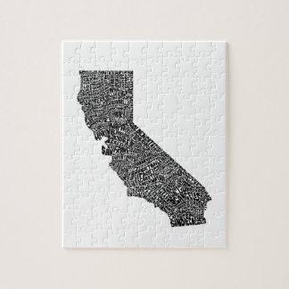カリフォルニアのタイポグラフィの地図 ジグソーパズル
