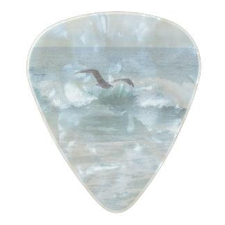 カリフォルニアのビーチのカモメ パールセルロイド ギターピック