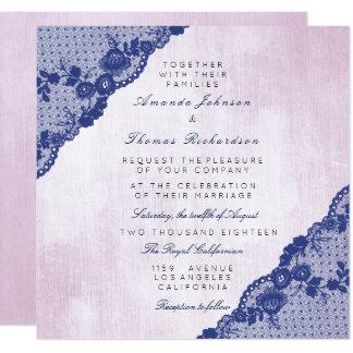 カリフォルニアのローズピンク青い海軍レースの結婚式 カード