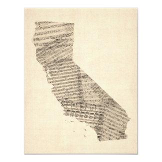 カリフォルニアの古い楽譜の地図 カード