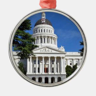 カリフォルニアの州の国会議事堂の建物-サクラメント シルバーカラー丸型オーナメント