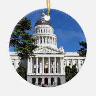 カリフォルニアの州の国会議事堂の建物-サクラメント 陶器製丸型オーナメント