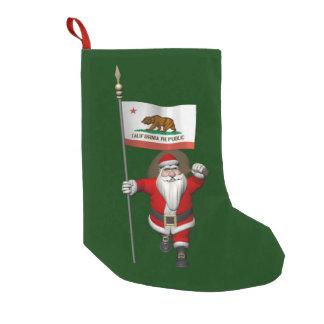 カリフォルニアの旗を持つサンタクロース スモールクリスマスストッキング