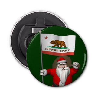 カリフォルニアの旗を持つサンタクロース 栓抜き
