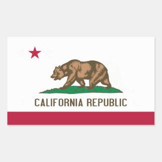 カリフォルニアの旗 長方形シール