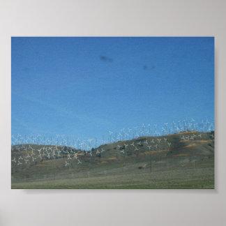 カリフォルニアの風力発電地帯 ポスター