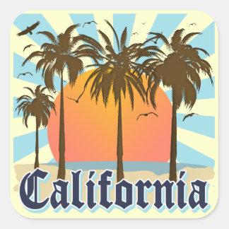 カリフォルニアは日没を浜に引き上げます スクエアシール
