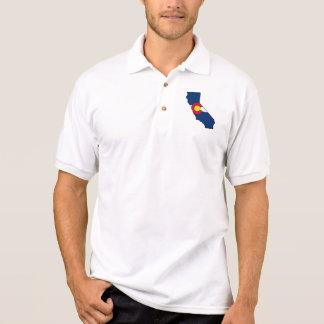 カリフォルニアコロラド州旗メンズポロシャツ ポロシャツ