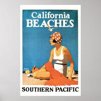 カリフォルニアビーチのヴィンテージ旅行ポスター ポスター
