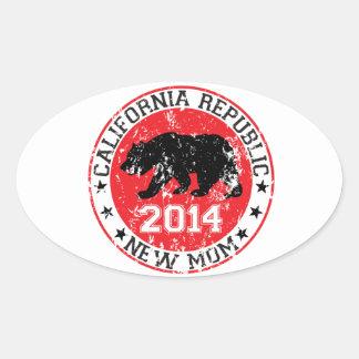 カリフォルニア共和国の新しいお母さん2014年 楕円形シール