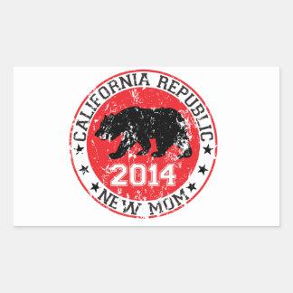 カリフォルニア共和国の新しいお母さん2014年 長方形シール