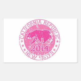 カリフォルニア共和国の新しい姉妹のピンク2014年 長方形シール