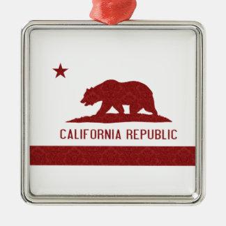 カリフォルニア共和国の旗のダマスク織パターン メタルオーナメント