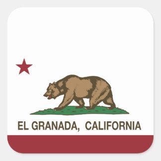 カリフォルニア共和国の旗Elグラナダ スクエアシール