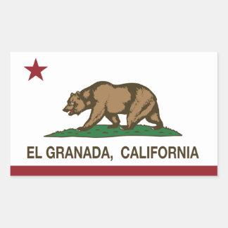 カリフォルニア共和国の旗Elグラナダ 長方形シール