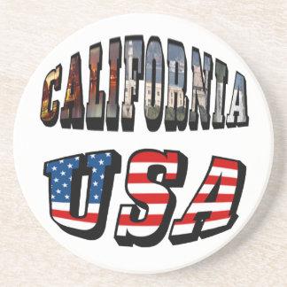 カリフォルニア写真および米国の旗の文字 コースター