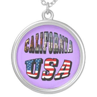 カリフォルニア写真および米国の旗の文字 シルバープレートネックレス
