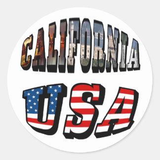 カリフォルニア写真および米国の旗の文字 ラウンドシール