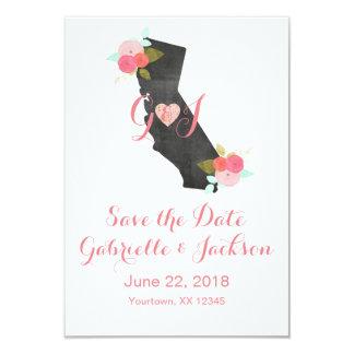 カリフォルニア州のシックな花柄の保存日付 8.9 X 12.7 インビテーションカード