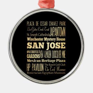 カリフォルニア州のタイポグラフィの芸術のサンノゼ都市 メタルオーナメント