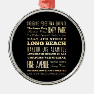 カリフォルニア州のタイポグラフィの芸術のロングビーチ都市 メタルオーナメント