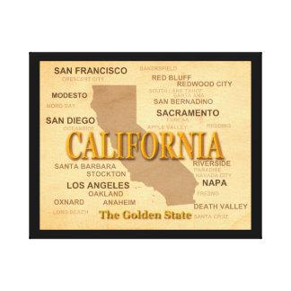 カリフォルニア州のプライドの地図のシルエット キャンバスプリント