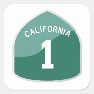 カリフォルニア州のルート1/ハイウェー1のステッカー スクエアシール