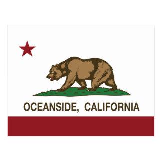 カリフォルニア州の旗のオーシャンサイド ポストカード